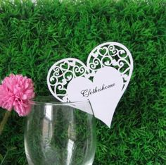 50x Heart Shaped Wedding Place name card Wedding Bomboniere Favors
