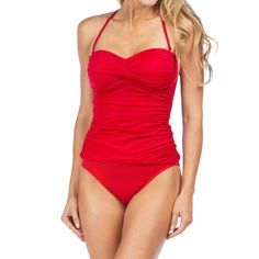 Pin-up Style Convertible Halter ADORABLE swim suit! One piece with removable strap, two looks in one. Lined cups (not padded). No piling! This wasn't really used to swim, just wear (only a few times). Still looks new. From Nordstrom. True to size.  Offer Button ONLY. NO TRADES, Ⓜ or ️️. 10% off bundles! La Blanca Swim One Pieces