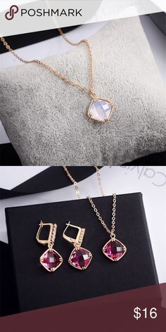 Gold Plated Set Fashion Set. CZ Jewelry Set. Pendent and Earrings Gold Plated. Color available as seen if first picture! Jewelry Necklaces
