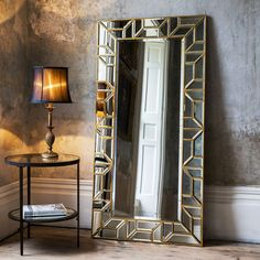 Make a statement in your home with the beautiful rectangular Verbier leaner mirror in a painted gold finish. Ideal for use anywhere throughout the home, this mirror will effortlessly create the impression of light and space. Floor Standing Mirror, Floor Mirror, Mirror With Mirror Frame, Wall Mirror Ideas, Ornate Mirror, Oval Mirror, Cooler Spiegel, Spiegel Design, Wal Art