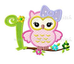 First owl birthday for girls machine embroidery by WendysStitch, $1.49