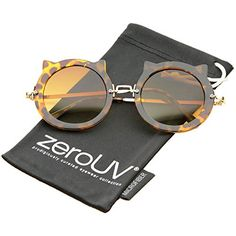 197261f684d zeroUV - Women s Spiked Frame Metal Temple Round Cat Eye Sunglasses 42mm  (Tortoise-Gold   Amber)