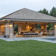 outdoor living concepts seamlessly translate the sensory experience of the Hamptons into exquisite outdoor living spaces. Backyard Pavilion, Backyard Patio Designs, Pergola Designs, Backyard Landscaping, Patio Ideas, Pergola Kits, Backyard Kitchen, Outdoor Kitchen Design, Outdoor Living Rooms