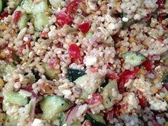 Greek Cous Cous Salad - Made it with homemade greek dressing. (White balsamic + EVOO + dijon mustard + fresh basil + salt + pepper)