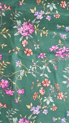 Small Flower Branches on Green Cotton Fabric by Fabric Traditions, Fabric by the Yard by LaCreekBlue on Etsy