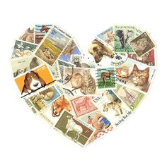 Postage stamp art for animal lovers