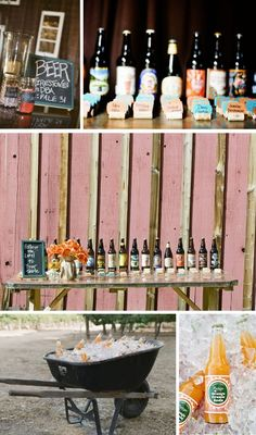"""Follow the label to your table."" Fun and creative idea to get your guests to their table at a wedding reception."