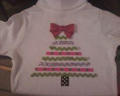 GIRLS DIY CHRISTMAS TREE RIBBON SHIRT... MY VERSION...