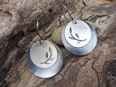 silver leaf earrings - recreate with carved shell buttons over metal or tin punched and domed