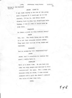 A lost page from a television script. Pie Hole, Lost & Found, Script, Writer, Novels, Concert, Script Typeface, Writers, Scripts