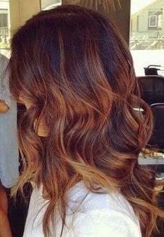 Red Caramel Hair Color Fall Hair Color Auburn Ombre Copper Balayage and Focus On Onbre Hair, New Hair, Rose Hair, Cabelo Tiger Eye, Hair Color Auburn, Auburn Red, Tiger Eye Hair Color, Hair Colour, Brown Hair With Auburn