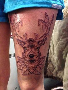 Thigh tattoo. Sugar deer.
