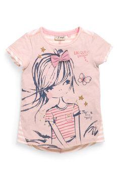 Buy Pink Girl T-Shirt from the Next UK online shop Girls Tees, Shirts For Girls, Baby Girl Fashion, Kids Fashion, Girl Trends, Girl Closet, Design Girl, Kids Prints, Cute Characters