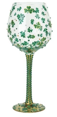 """Luck of the Irish"" Super Bling Wine Glass by Lolita (Hula Island)"