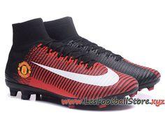 promo code 8a926 45474 NIke Mercurial Superfly V Manchester United Chaussure de Football Pas Cher  Pour Homme Rouge Noir-