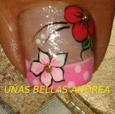 Pies                                                                                                                                                                                 Más Cute Pedicure Designs, Pretty Nail Designs, Toe Nail Designs, Manicure And Pedicure, French Pedicure, Toe Nail Art, Toe Nails, Cute Pedicures, Flower Nail Art