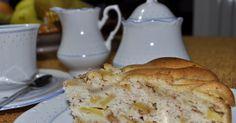 Torta con frutta, pere, mele cotogne, dolci del riciclo, torte morbide per la colazione, ricette facili, cannella, canditi di arancia