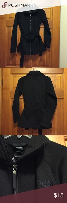 The North Face Black Belted Jacket - Size M Selling a gently used black jacket from The North Face - size M. Overall jacket is in good condition. Some pilling (more of a factor of the fabric than actually wearing it). The North Face Jackets & Coats