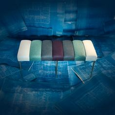 Chromatic Bench - Hues of Blue. Recovered Interior Colelction