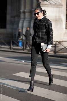 Try wearing cropped pants with tights in the same color. from Street style aesthetic