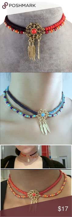Dream Catcher Beaded Boho Tribal Feather Chokers Just in!  Select sky blue or tribal orange tones. (B) Jewelry Necklaces