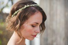 thin flower crown, tousled bun