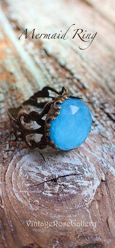 Mermaid Bohemian Gemstones Rings , #VintageRoseGallery, #etsy #mermaid Turquoise doublet bohemian Ring , Mermaid Rings by VintageRoseGallery