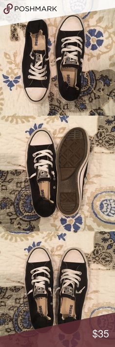 NEVER WORN Black Low Top Converse Worn one time! In excellent condition, no tears or hole & do not look worn out. They are a little dusty simply from sitting in my closet, but a Mr Clean eraser could make them white and new in no time. Converse Shoes Sneakers