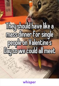 They should have like a mass dinner for single people on Valentine's Day so we could all meet Valentines For Singles, Valentines Day Funny, Single Humor, Single Memes, Whisper App Confessions, Whisper Quotes, Single People, Valentine's Day Quotes, Happy Moments