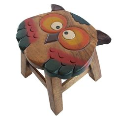Osaka Kids Wooden Stool Solid Mango Wood Timber Children Designer Furniture Owl