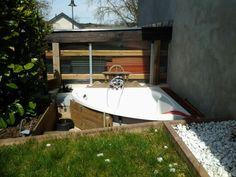 Diy bath in our garden / Selbst gebaute Badewanne in unserem Garten