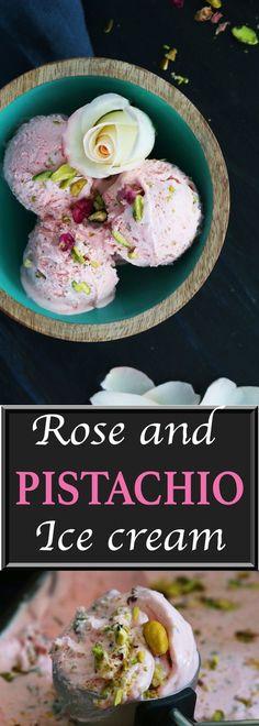 Rose ice cream | cardamom ice cream | pistachio ice cream | no-churn ice cream | home made ice cream | easy ice cream