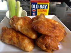 Old Bay Chicken Wings: 1 pound Chicken Wings ⅓ cups All-purpose Flour ¼ cups Old Bay Seasoning ¼ cups Frank's Red Hot Sauce ½ cups Worcestershire Sauce 1 Tablespoon Butter