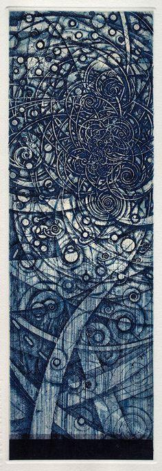 #213 老子考(22)-曲則全 36x11.5cmetching, engraving, chine colle'HAYASHI Takahiko 林孝彦 2016