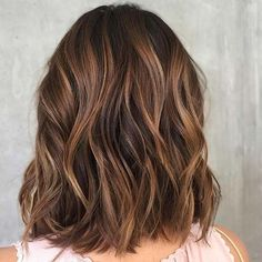 Lob Haircut with Subtle Caramel, Balayage Highlights Subtle Balayage Brunette, Brown Hair With Blonde Highlights, Brown Hair Balayage, Hair Highlights, Short Balayage, Warm Brown Hair, Short Brown Hair, Light Brown Hair, Brown Hair Colors