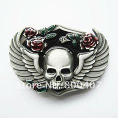 Wholesale Vintage Biker Belt Buckle Flower Wings Emo Skull Belt Buckle  SK037 Free Shipping Brand New c5c6a90fc3f