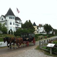 Mackinac Island. All of the homes on the island paint the ceilings of their porches blue to confuse the birds so they won't nest there because they think it's the sky.