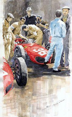 Yurly Shevchuk   WATERCOLOR    Monaco Gp 1961 Ferrari 156 Sharknose Richie Ginther