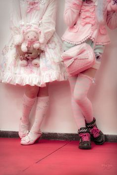 Left: Sweet Lolita   Right: Harajuku (because she isn't wearing a knee -length skirt, she is wearing shorts)