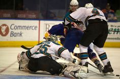 Worcester Sharks goaltender Harri Sateri does the splits to make a save (April 13, 2013).