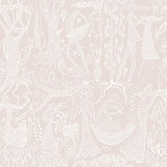 Folk Blush Poem d'Amour Wallpaper from the Scandinavian Designers II Collection by Brewster