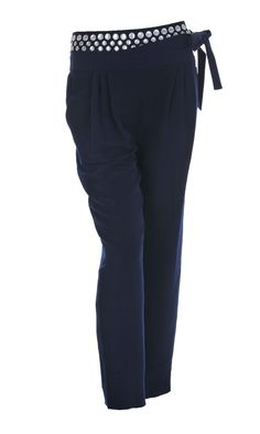 DVF beaded belt tailored navy trousers! Available at Stanwells,com!!