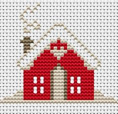 Cross Stitch Charts Free Cross Stitch Patterns - Arte Del Ricamo – Embroidery and Arts Creatives Cross Stitch House, Xmas Cross Stitch, Cross Stitch Cards, Simple Cross Stitch, Cross Stitching, Cross Stitch Embroidery, Embroidery Patterns, Cross Stitch Patterns Free Christmas, Loom Patterns