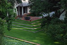 lawn and timber steps