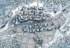 Poacher's Crest, a Hand-Drawn Town Map by Table Top Fantasy City Map, Fantasy Places, Fantasy Town Names, Town Name Generator, Cthulhu, Game Master, Snow Map, Pathfinder Maps, Village Map