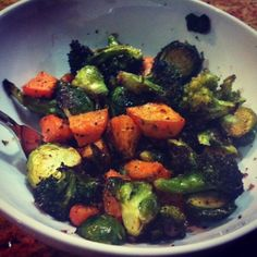 Roasted Vegetables ~ Toss assorted steamed veggies with olive oil in bowl ~ Spread on large cookie sheet ~ Coat with olive oil spray ~ Season with salt ~ Bake @ 450° for 15-20 min until browned & tender ~ Alternative @ 375° for 45 min