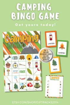 Need a Camping Bingo Printable Game? This Fun Camping Bingo set is perfect for School or Birthday Party Game. Great for all ages, these family game will have everyone smiling. Bingo Games For Kids, Printable Bingo Games, Bingo Set, Printable Activities For Kids, Printables, Camping Bingo, Valentine Bingo, Party Themes, Party Ideas