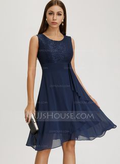 JJsHouse A-Line Scoop Neck Knee-Length Cascading Ruffles Zipper Up Regular Straps Sleeveless No Other Colors General Plus Chiffon Homecoming Dress. Event Dresses, Wedding Party Dresses, Formal Dresses, Elegant Dresses For Women, Sweet 16 Dresses, Chiffon, Homecoming Dresses, Bridesmaid Dresses, A Line Cocktail Dress