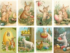 Easter Bunny Children Selection - Glossy Card Toppers