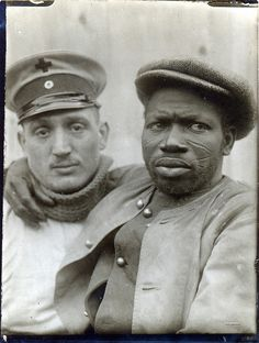 A wounded Senegalese prisoner of war 1914, note the tribal scars on his face.